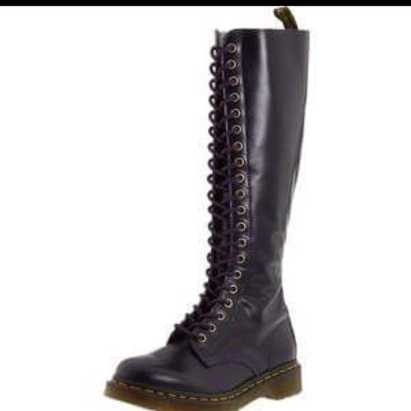 275f000394e Black 20 eye Dr. Martens knee high boots NWT